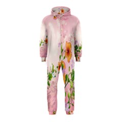 Beautiful Flowers On Soft Pink Background Hooded Jumpsuit (Kids)