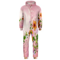 Beautiful Flowers On Soft Pink Background Hooded Jumpsuit (Men)