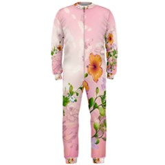 Beautiful Flowers On Soft Pink Background OnePiece Jumpsuit (Men)