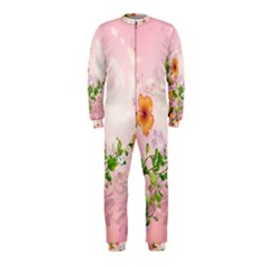 Beautiful Flowers On Soft Pink Background OnePiece Jumpsuit (Kids)