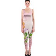 Beautiful Flowers On Soft Pink Background Onepiece Catsuits