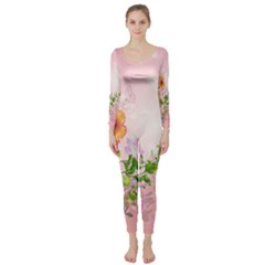 Beautiful Flowers On Soft Pink Background Long Sleeve Catsuit