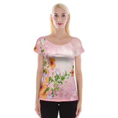 Beautiful Flowers On Soft Pink Background Women s Cap Sleeve Top