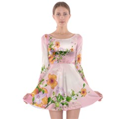 Beautiful Flowers On Soft Pink Background Long Sleeve Skater Dress