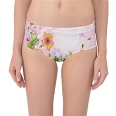 Beautiful Flowers On Soft Pink Background Mid-Waist Bikini Bottoms