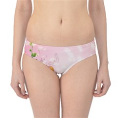 Beautiful Flowers On Soft Pink Background Hipster Bikini Bottoms