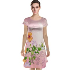 Beautiful Flowers On Soft Pink Background Cap Sleeve Nightdresses