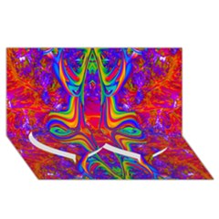 Abstract 1 Twin Heart Bottom 3d Greeting Card (8x4)
