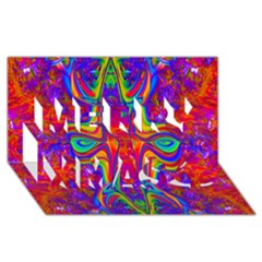Abstract 1 Merry Xmas 3D Greeting Card (8x4)