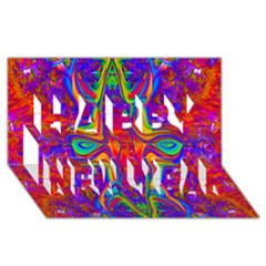 Abstract 1 Happy New Year 3d Greeting Card (8x4)