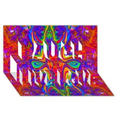 Abstract 1 Laugh Live Love 3D Greeting Card (8x4)