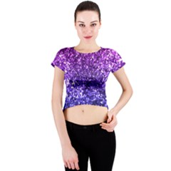 Midnight Glitter Crew Neck Crop Top