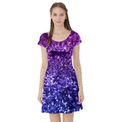 Midnight Glitter Short Sleeve Skater Dresses