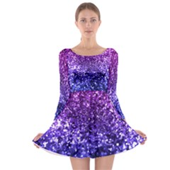 Midnight Glitter Long Sleeve Skater Dress