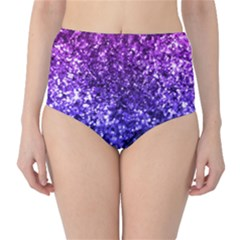 Midnight Glitter High-Waist Bikini Bottoms