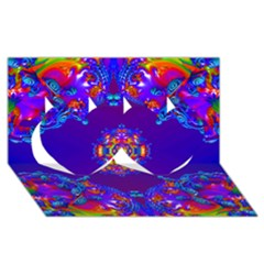 Abstract 2 Twin Hearts 3D Greeting Card (8x4)