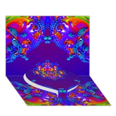 Abstract 2 Heart Bottom 3D Greeting Card (7x5)
