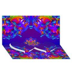Abstract 2 Twin Heart Bottom 3D Greeting Card (8x4)