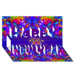 Abstract 2 Happy New Year 3D Greeting Card (8x4)