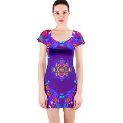 Abstract 2 Short Sleeve Bodycon Dresses