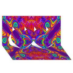 Butterfly Abstract Twin Hearts 3D Greeting Card (8x4)