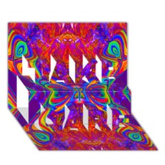 Butterfly Abstract TAKE CARE 3D Greeting Card (7x5)