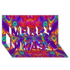 Butterfly Abstract Merry Xmas 3d Greeting Card (8x4)