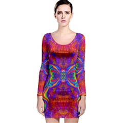 Butterfly Abstract Long Sleeve Bodycon Dress