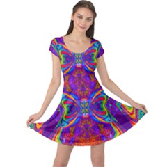 Butterfly Abstract Cap Sleeve Dress