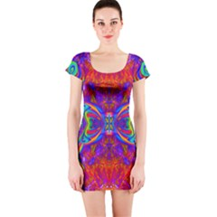 Butterfly Abstract Short Sleeve Bodycon Dress