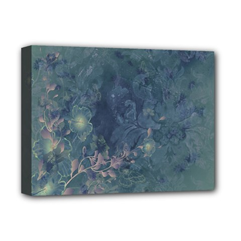 Vintage Floral In Blue Colors Deluxe Canvas 16  x 12