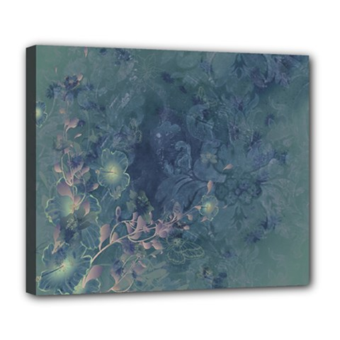 Vintage Floral In Blue Colors Deluxe Canvas 24  x 20