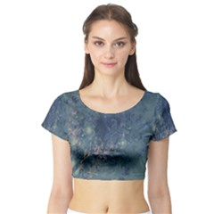 Vintage Floral In Blue Colors Short Sleeve Crop Top