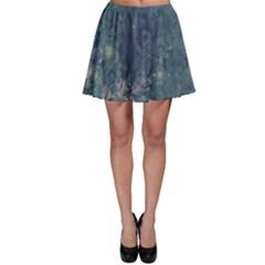 Vintage Floral In Blue Colors Skater Skirts