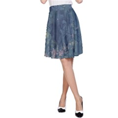 Vintage Floral In Blue Colors A-Line Skirts
