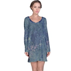 Vintage Floral In Blue Colors Long Sleeve Nightdresses