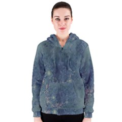 Vintage Floral In Blue Colors Women s Zipper Hoodies