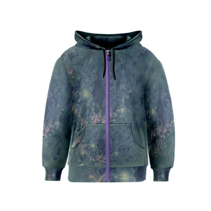Vintage Floral In Blue Colors Kids Zipper Hoodies