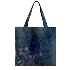 Vintage Floral In Blue Colors Zipper Grocery Tote Bags