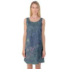 Vintage Floral In Blue Colors Sleeveless Satin Nightdresses