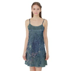 Vintage Floral In Blue Colors Satin Night Slip