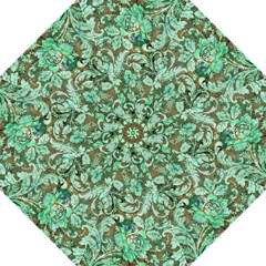 Beautiful Floral Pattern In Green Straight Umbrellas