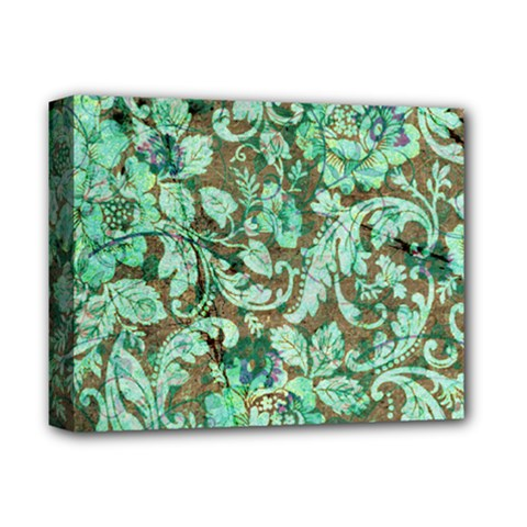 Beautiful Floral Pattern In Green Deluxe Canvas 14  x 11