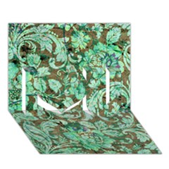 Beautiful Floral Pattern In Green I Love You 3D Greeting Card (7x5)