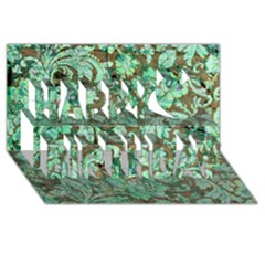 Beautiful Floral Pattern In Green Happy Birthday 3d Greeting Card (8x4)