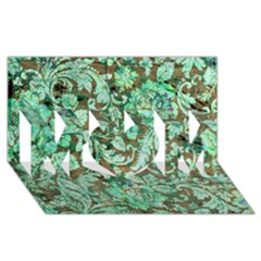 Beautiful Floral Pattern In Green MOM 3D Greeting Card (8x4)