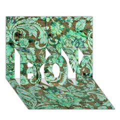 Beautiful Floral Pattern In Green Boy 3d Greeting Card (7x5)