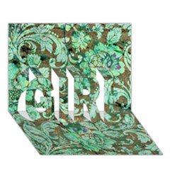 Beautiful Floral Pattern In Green Girl 3d Greeting Card (7x5)