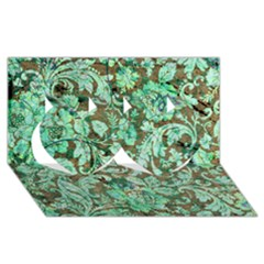 Beautiful Floral Pattern In Green Twin Hearts 3D Greeting Card (8x4)