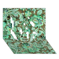 Beautiful Floral Pattern In Green LOVE 3D Greeting Card (7x5)